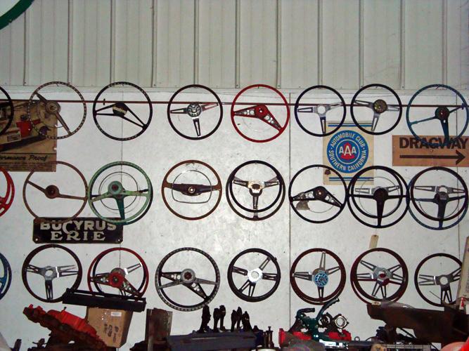 Vintage Chevy car steering wheels, classic Chevy car steering columns, antique Chevy auto